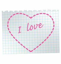 Heart on notepad vector