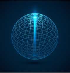 Abstract blue outline globe sphere background vector