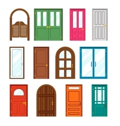 Set of front buildings doors in flat design style vector