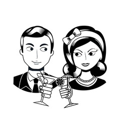 Retro people vector