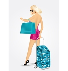 Woman carrying a trolley suitcase vector
