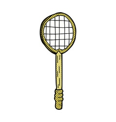 Comic cartoon old tennis racket vector