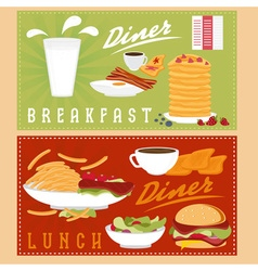 Breakfast and lunch menu vector