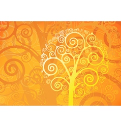 orange floral background vector image