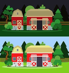 Morning and night landscape with barn and trees vector