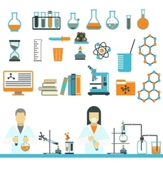 Laboratory symbols science and chemistry icons vector
