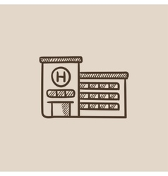 Hospital building sketch icon vector