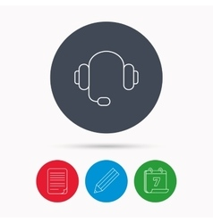Headphones icon musical notes signs vector