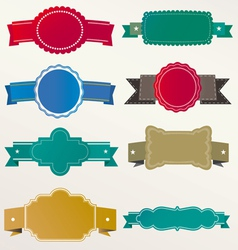 frame labels ribbon Set vintage vector image