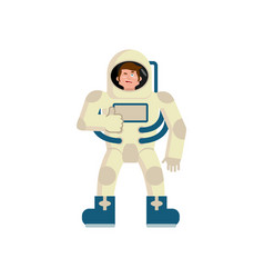 Astronaut winks emoji spaceman thumbs up happy vector
