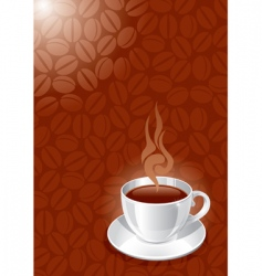background with white glossy cup vector image