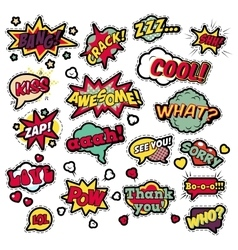 Badges stickers in pop art comic speech bubbles vector