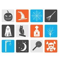 Black halloween icon pack with bat pumpkin vector image