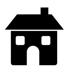 Black silhouette of house two floors and chimney vector