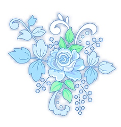 Blue rose decorated small bouquet vector