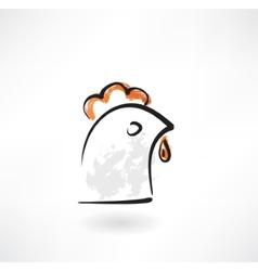 Chicken head grunge icon vector