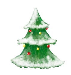 Christmas tree greeting card hand drawn and shiny vector image vector image