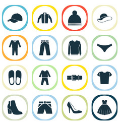 Clothes icons set includes icons such as cardigan vector