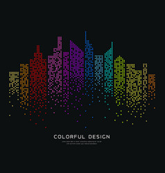 colorful building dot design background vector image vector image