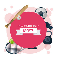 Colorful poster of healthy lifestyle sports with vector
