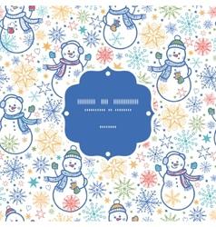 cute snowmen frame seamless pattern background vector image