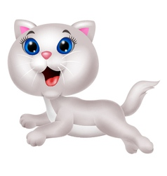 Cute white cat cartoon running vector
