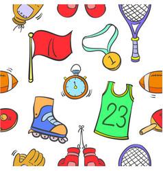 Doodle sport equipment vector
