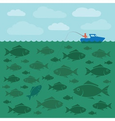 Fishing on the boat vector image