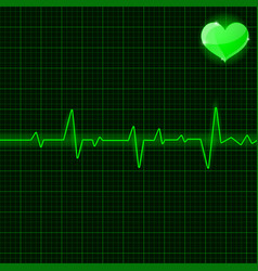 Green electrocardiogram with heart symbol vector