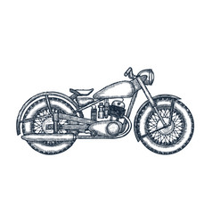 hand drawn vintage motorcycle logo design template vector image vector image