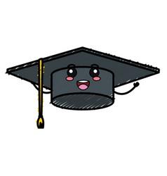 Hat graduation kawaii character vector