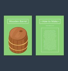 How to make wooden barrel set of posters with text vector