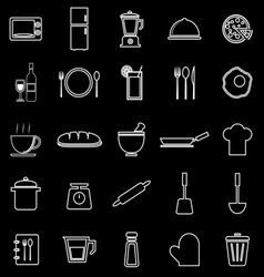 Kitchen line icons on black background vector
