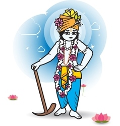 Lord shri balaram with plow vector