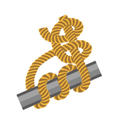 metal stick with rope tied around in knot vector image