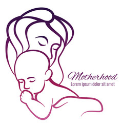 mom and baby colorful silhouette - motherhood vector image vector image