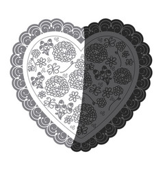 Monochrome silhouette heart with decorative frame vector