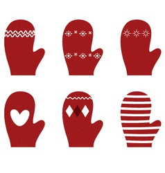 Red winter retro Gloves set isolated on white vector image