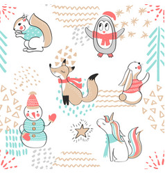 seamless pattern with cute penguinsnowman fox vector image vector image