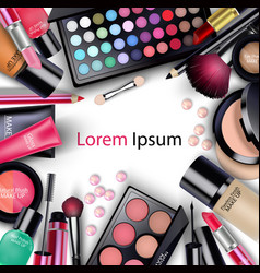 sets of cosmetics on white background vector image vector image