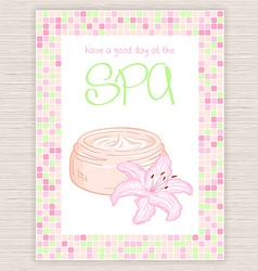 spa party invitation with colorful mosaic frame vector image