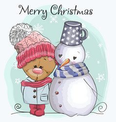 teddy bear in a knitted cap and snowman vector image