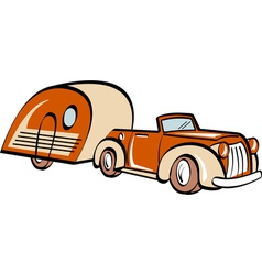 Vintage convertable car trailer vector