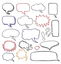 Hand drawn speech bubbles cloud doodle set vector