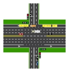 Road infographics large highway intersection with vector
