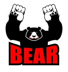 Angry bear aggressive grizzly logo big beast vector
