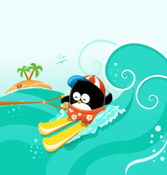 Water skiing penguin vector