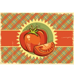 Red tomatos vintage label vector