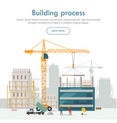 Building process unfinished building crane vector