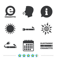 e-cigarette signs electronic smoking icons vector image